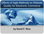 Effects of Agile Methods on Website Quality for ... - David F. Rico