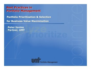 Best Practices in Portfolio Management - NY SPIN