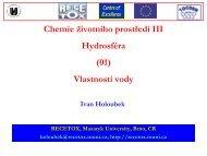 Chemie životního prostředí III Hydrosféra (01) Vlastností vody