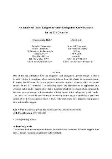 An Empirical Test of Exogenous versus Endogenous Growth Models ...