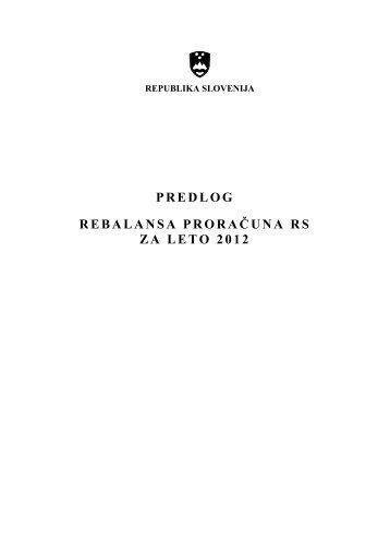 predlog rebalansa proračuna rs za leto 2012 - Vlada Republike ...