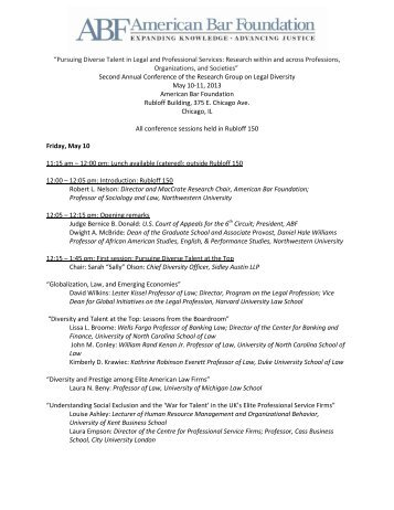 2013 Second Annual Conference Schedule - American Bar ...