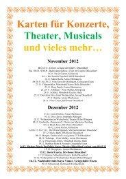 Karten für Konzerte, Theater, Musicals und  vieles  mehr…