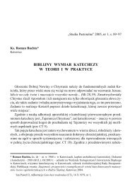 Biblijny wymiar katechezy w teorii i w praktyce
