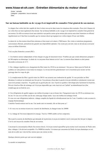 www.hisse-et-oh.com : Entretien élémentaire du moteur diesel