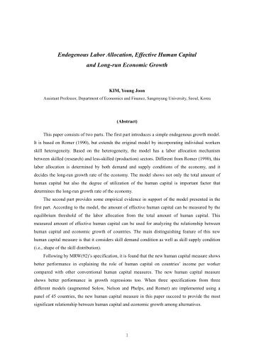 Endogenous Labor Allocation, Effective Human Capital and Long ...