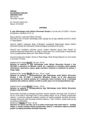 Zapisnik - Občina Slovenske Konjice