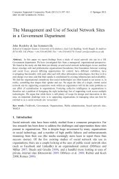 The Management and Use of Social Network Sites in a ... - Springer