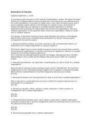 Declaration of interests - Dutch Cochrane Centre - The Cochrane ...