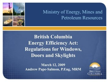 British Columbia Energy Efficiency Act: Regulations ... - Heritage BC