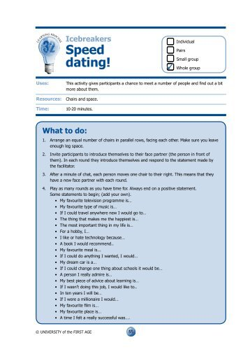 Speed dating sheets