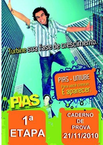 Caderno de Prova 1ª Etapa do PIAS - Uniube