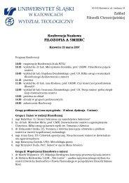 Konferencja Naukowa FILOZOFIA A ŚMIERĆ