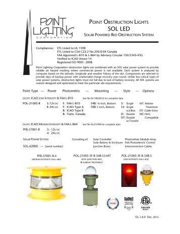 Solar Power Obstruction Light Systems - Point Lighting Corporation