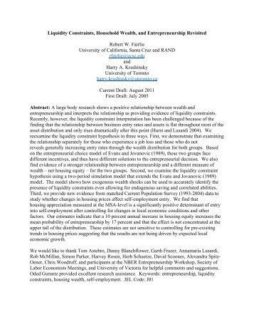 Liquidity Constraints, Household Wealth, and ... - Economics