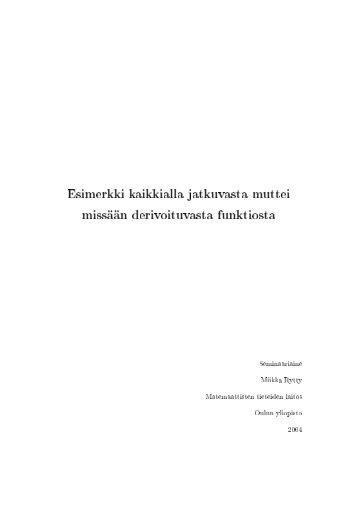 Patologiset funktiot - Oulun yliopiston matemaattisten tieteiden laitos