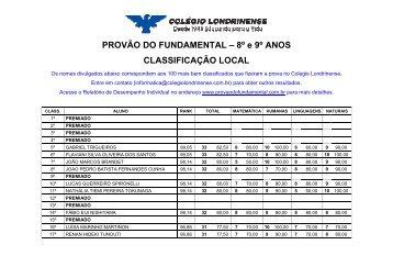resultados - 8º e 9º anos - Colégio Londrinense