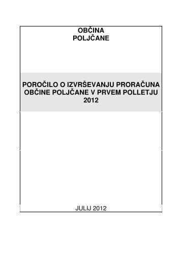 Poročilo o izvrševanju proračuna Občine ... - Občina Poljčane