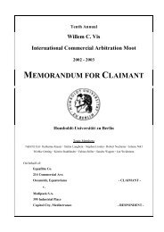 2003 MEMORANDUM FOR CLAIMANT Humboldt-Universität zu Berlin