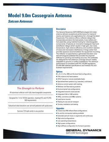 Model 9.0m Cassegrain Antenna - General Dynamics SATCOM ...