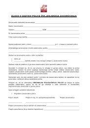 zahtevek za izplačilo odkupne vrednosti - Agencija Mori doo