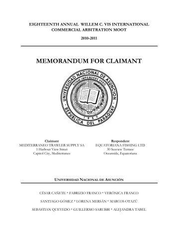 MEMORANDUM FOR CLAIMANT