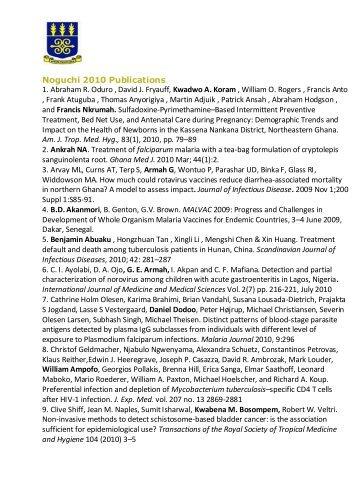 Noguchi 2010 Publications 1. Abraham R. Oduro , David J. Fryauff ...