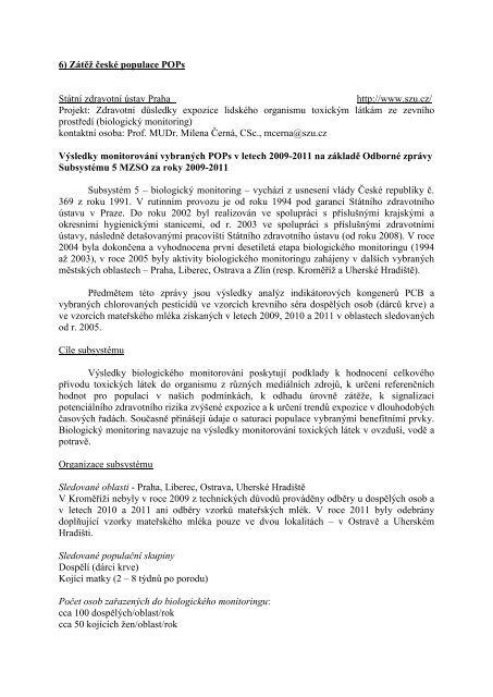 Zátěž České republiky POPs - Centrum pro výzkum toxických látek v ...