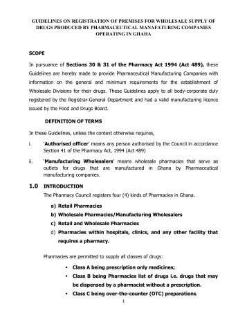 Guidelines on Registration of wholesale Outlets - Pharmacy Council ...