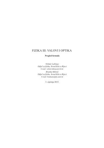 Pregled formula iz valova i optike - Odjel za fiziku