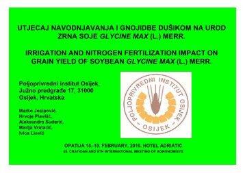 utjecaj navodnjavanja i gnojidbe dušikom na urod zrna soje glycine ...