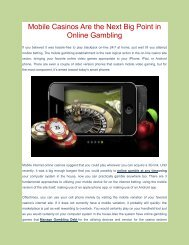 Mobile Casinos Are the Next Big Point in Online Gambling