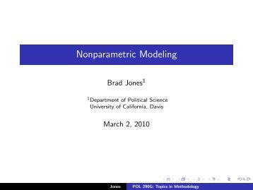 Nonparametric Modeling - University of California, Davis