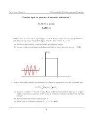 Završni ispit iz predmeta Kvantna mehanika I ZADACI - PMF