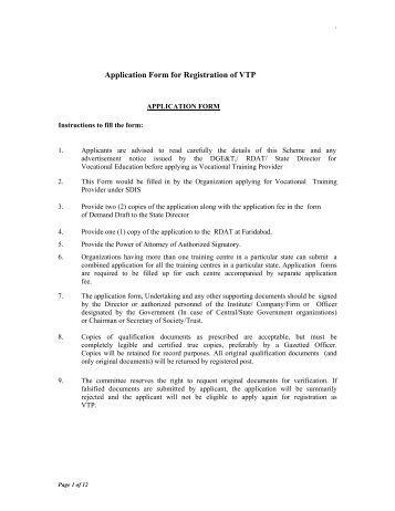 Application Form for Registration of VTP - Department of ...
