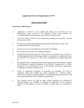 Application Form for Registration of VTP - Department of ...