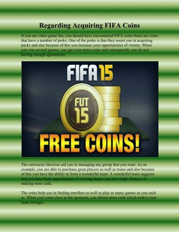 Regarding Acquiring FIFA Coins