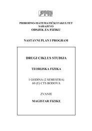 Nastavni plan i program za drugi ciklus - Teorijska fizika - PMF