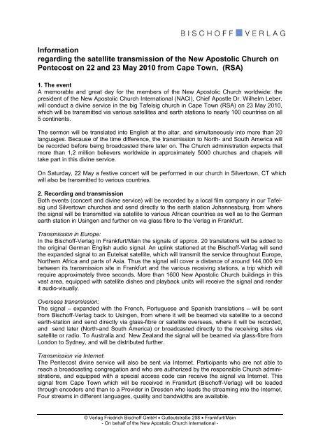 press release - New Apostolic Church International