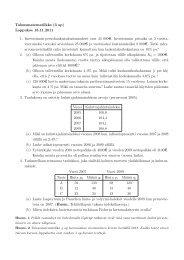 Talousmatematiikka (3 op) Loppukoe 18.11.2011 1. Investoinnin ...