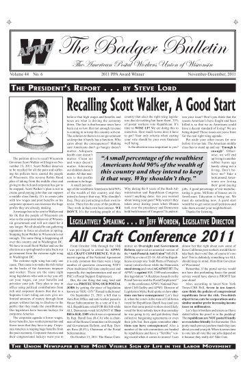 Nov/Dec - American Postal Workers Union of Wisconsin AFL-CIO