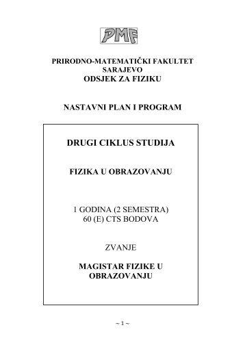 Nastavni plan i program za drugi ciklus - Fizika u obrazovanju - PMF