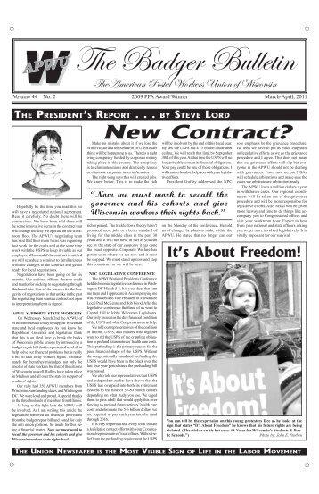 Mar/Apr - American Postal Workers Union of Wisconsin AFL-CIO