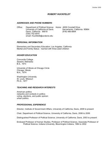 curriculum vitae mercyhurst college political science department