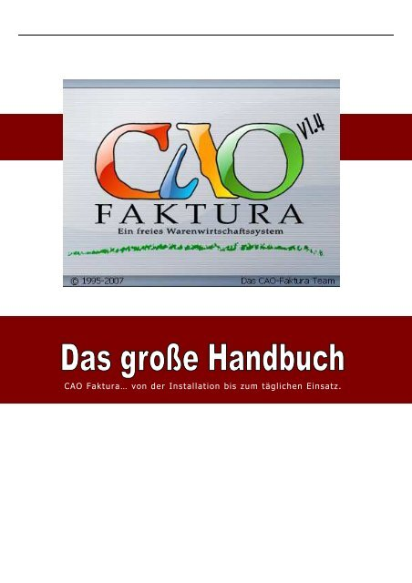 Cao Faktura Das Groãÿe Handbuch