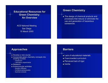 Green Chemistry Approaches Barriers - Green Chemistry Center