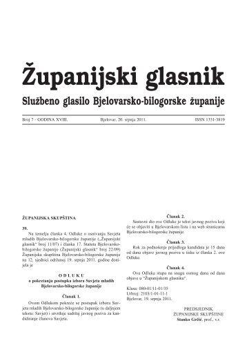Ćupanijski glasnik - Bjelovarsko-bilogorska županija