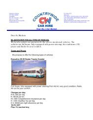 Price List - Country Wide Car Hire