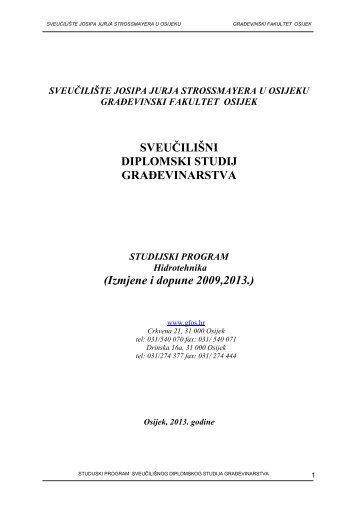 Studijski program - Sveučilište Josipa Jurja Strossmayera u Osijeku