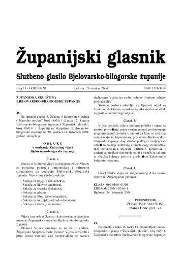 Æupanijski glasnik - Bjelovarsko-bilogorska županija
